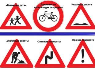 Прочие опасности «Внимание дети» Движение на велосипедах запрещено Неровная д