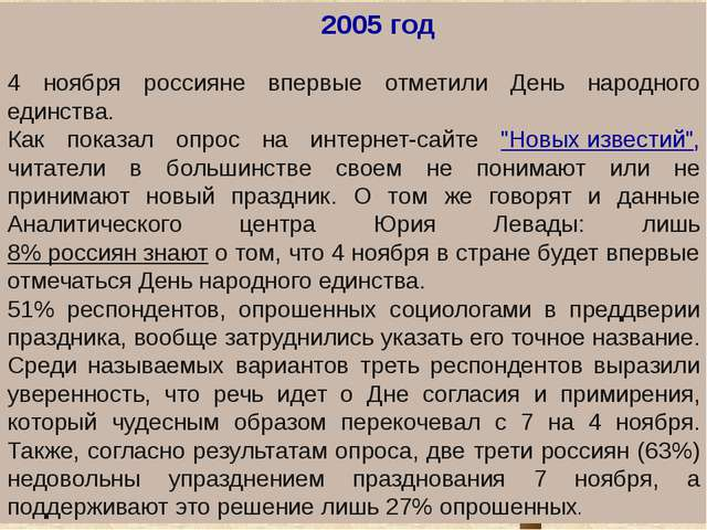 . 2005 год 4 ноября россияне впервые отметили День народного единства. Как...