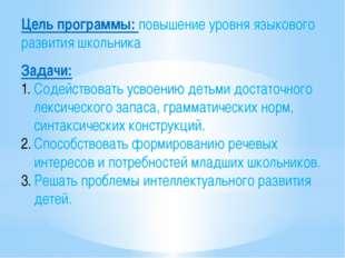Цель программы: повышение уровня языкового развития школьника Задачи: Содейст