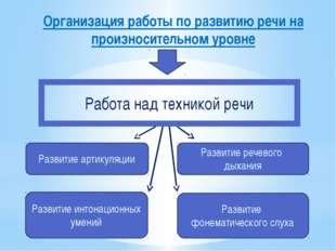 Организация работы по развитию речи на произносительном уровне Развитие артик