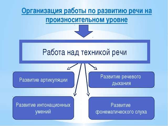 Организация работы по развитию речи на произносительном уровне Развитие артик...