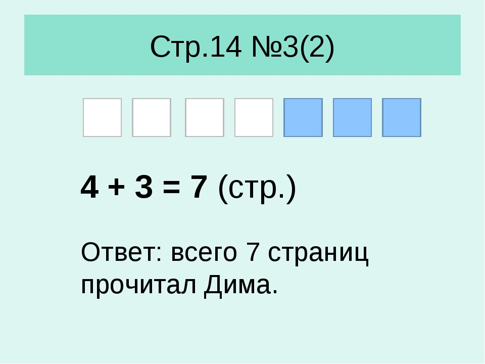 Стр.14 №3(2) 4 + 3 = 7 (стр.) Ответ: всего 7 страниц прочитал Дима.