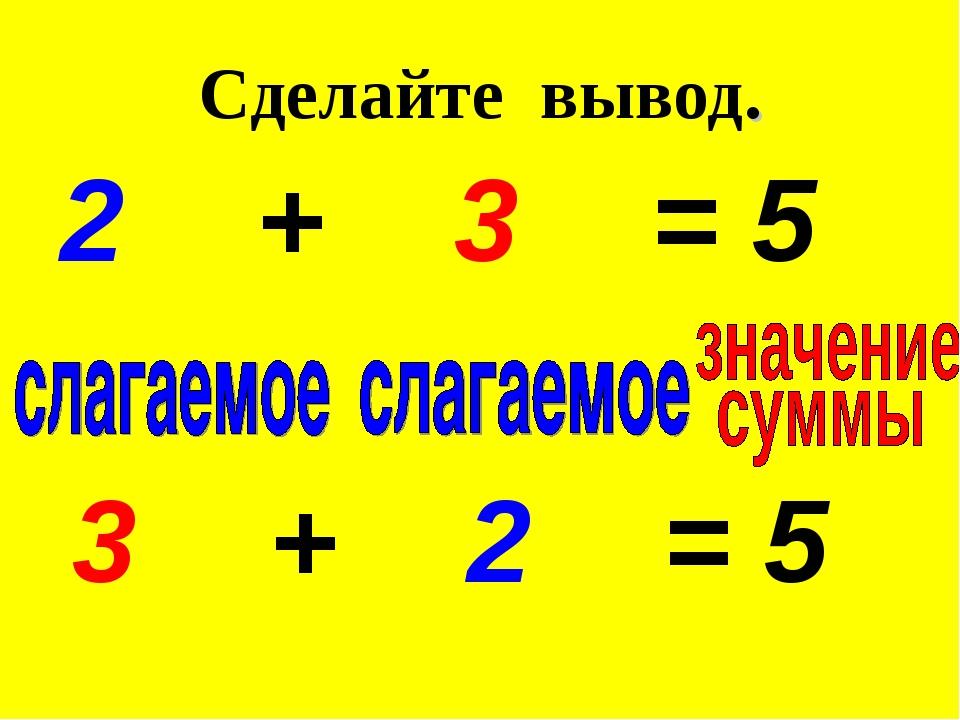 2 + 3 = 5 3 + 2 = 5 Сделайте вывод.