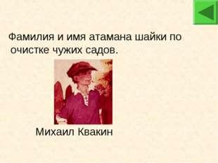 Михаил Квакин Фамилия и имя атамана шайки по очистке чужих садов.