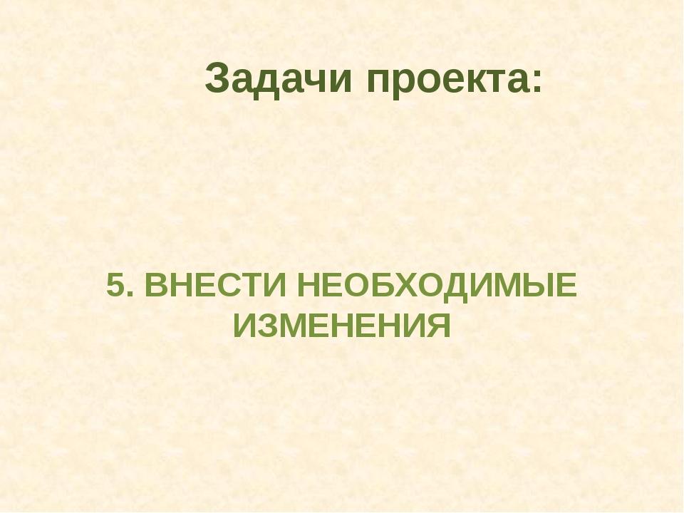5. ВНЕСТИ НЕОБХОДИМЫЕ ИЗМЕНЕНИЯ Задачи проекта: