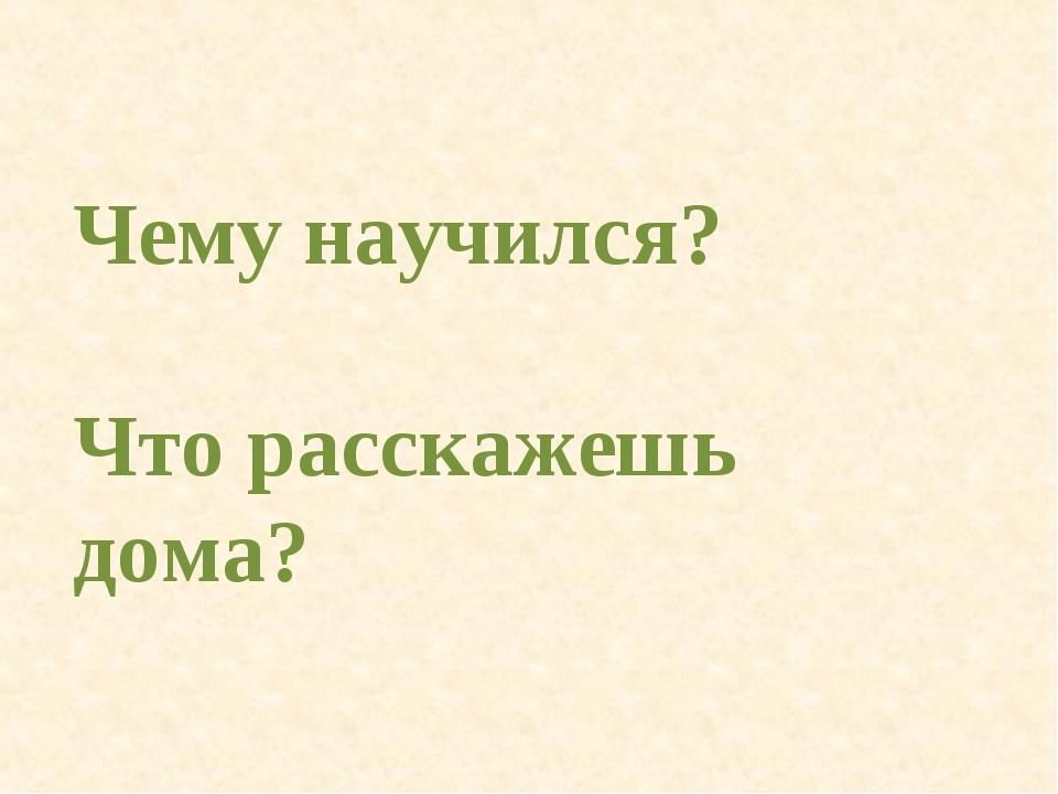 Чему научился? Что расскажешь дома?