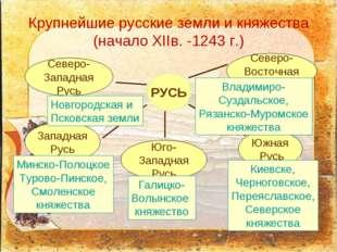 Крупнейшие русские земли и княжества (начало XIIв. -1243 г.)