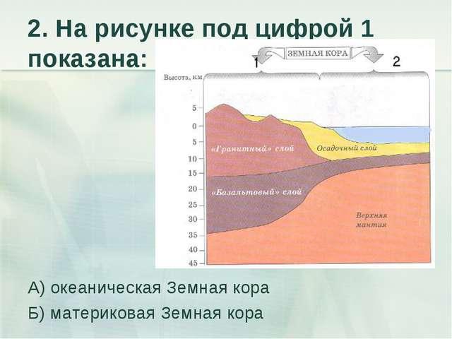 2. На рисунке под цифрой 1 показана: А) океаническая Земная кора Б) материков...