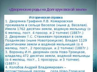 Историческая справка 1. Дворянка Графиня Л.В. Комаровская проживала в сельце
