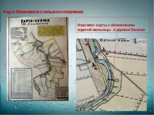 Карта Веселовского сельского поселения Фрагмент карты с обозначением водяной