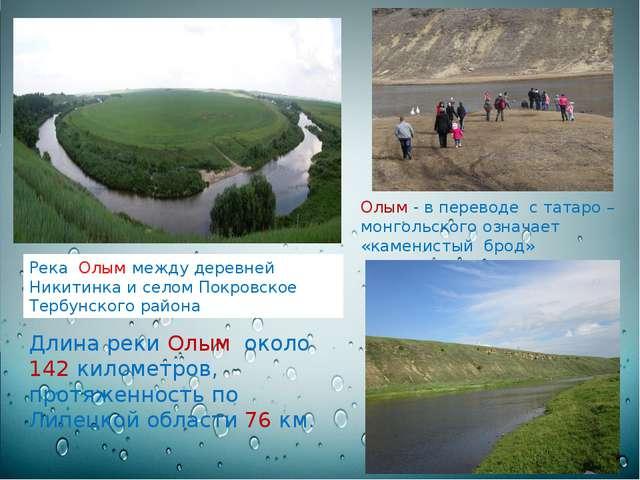 Длина реки Олым около 142 километров, протяженность по Липецкой области 76 к...