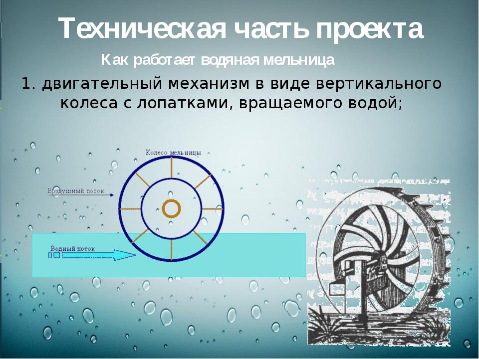 Техническая часть проекта Как работает водяная мельница 1. двигательный меха...