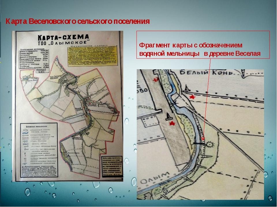Карта Веселовского сельского поселения Фрагмент карты с обозначением водяной...