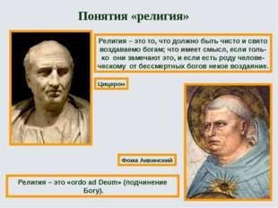 Цицерон Фома Аквинский Религия – это то, что должно быть чисто и свято воздав