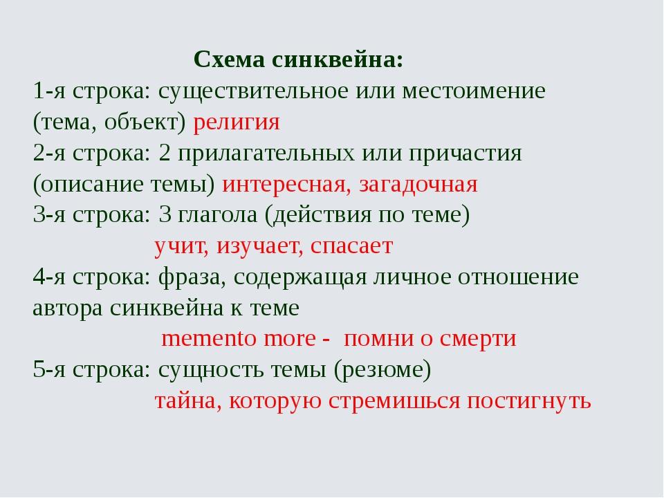 Схема синквейна: 1-я строка: существительное или местоимение (тема, объект)...