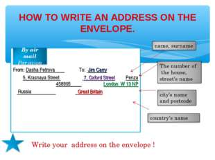 HOW TO WRITE AN ADDRESS ON THE ENVELOPE. From: Dasha Petrova To: Jim Carry 5,