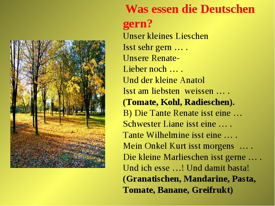 Was essen die Deutschen gern? Unser kleines Lieschen Isst sehr gern … . Unse...