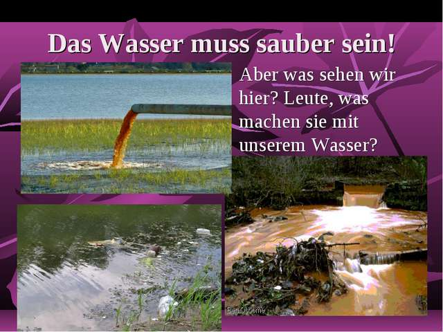 Das Wasser muss sauber sein! Aber was sehen wir hier? Leute, was machen sie m...