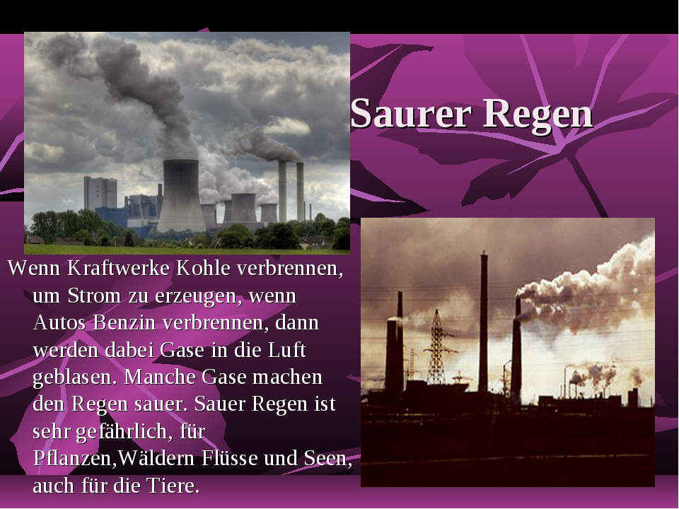 Saurer Regen Wenn Kraftwerke Kohle verbrennen, um Strom zu erzeugen, wenn Aut...