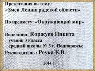 Презентация на тему : «Змеи Ленинградской области» По предмету: «Окружающий