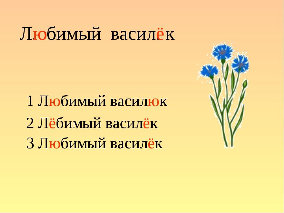 Л. бимый васил. к 1 Любимый василюк 2 Лёбимый василёк 3 Любимый василёк ю ё