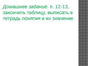 Домашнее задание: п. 12-13, закончить таблицу, выписать в тетрадь понятия и и