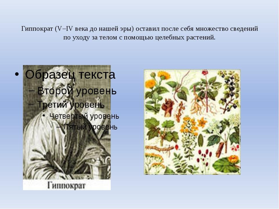 Гиппократ (V–IV века до нашей эры) оставил после себя множество сведений по...