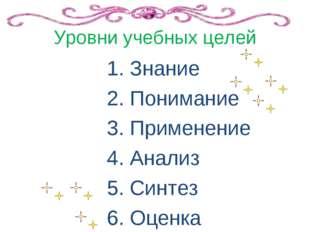 Уровни учебных целей 1. Знание 2. Понимание 3. Применение 4. Анализ 5. Синтез