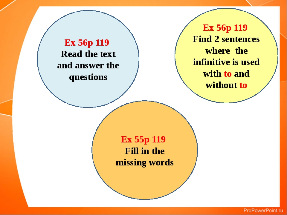 Ex 55p 119 Fill in the missing words Ex 56p 119 Read the text and answer the...