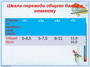 Шкала перевода общего балла в отметку Отметка по пятибалльной шкале «2» «3» «