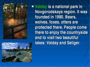 Valday is a national park in Novgorodskaya region. It was founded in 1990. Be