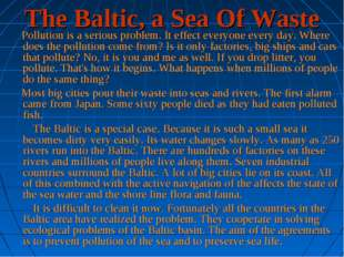 The Baltic, a Sea Of Waste     Pollution is a serious problem. It effect ever