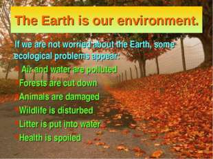 The Earth is our environment. If we are not worried about the Earth, some eco