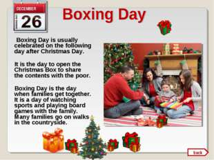 Boxing Day is usually celebrated on the following day after Christmas Day. I