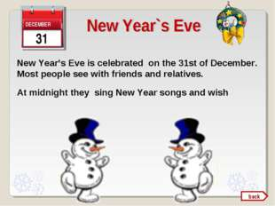 New Year's Eve is celebrated on the 31st of December. Most people see with fr