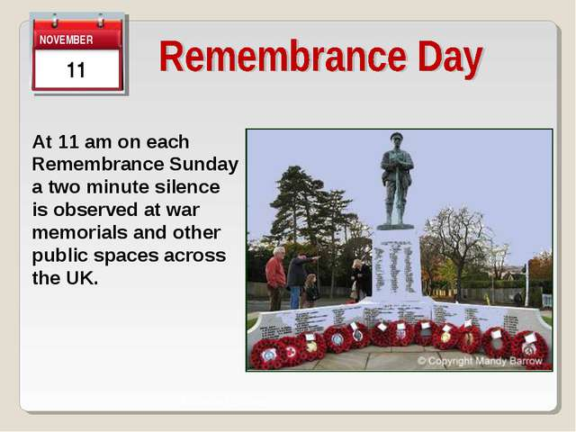 View of Town Town Centre At 11 am on each Remembrance Sunday a two minute sil...