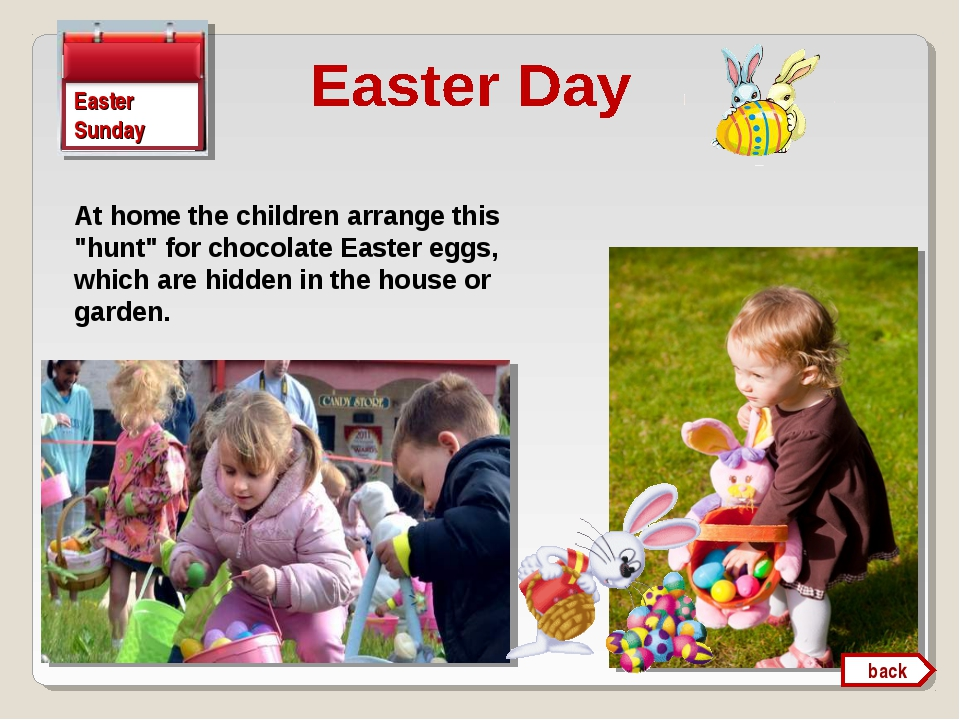 "Easter Sunday At home the children arrange this ""hunt"" for chocolate Easter e..."