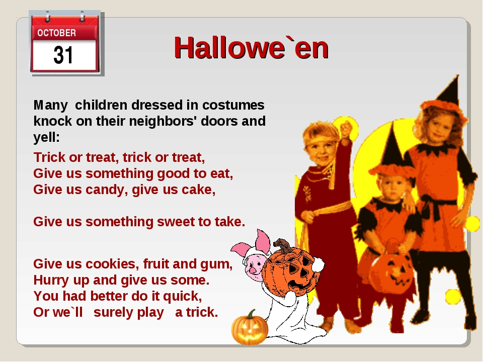 31 Hallowe`en   Many children dressed in costumes knock on their neighbors' d...