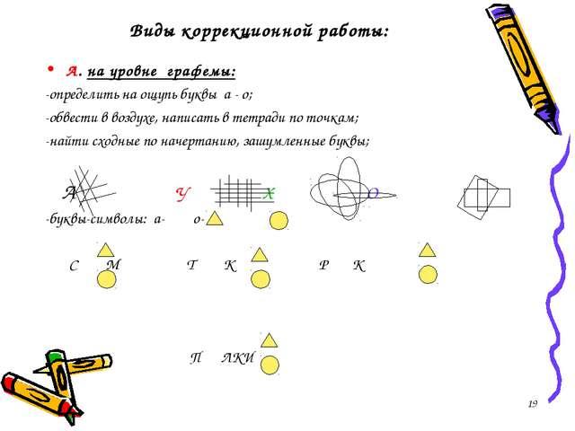 * Виды коррекционной работы: А. на уровне графемы: -определить на ощупь буквы...