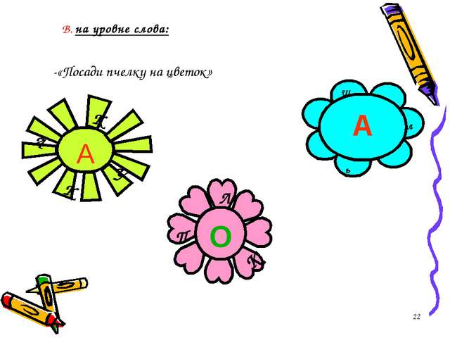 * В. на уровне слова: -«Посади пчелку на цветок» л