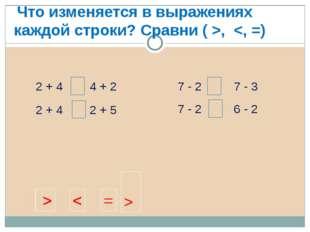 2 + 4 2 + 4 4 + 2 2 + 5 7 - 2 7 - 2 7 - 3 6 - 2 Что изменяется в выражениях к