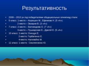 Результативность 2009 – 2010 уч.год победителями общешкольных олимпиад стали: