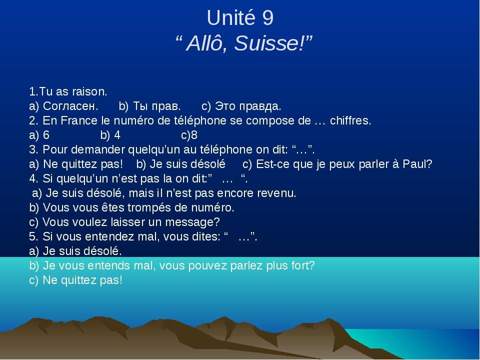 """Unité 9 """" Allô, Suisse!"""" 1.Tu as raison. a) Согласен. b) Ты прав. c) Это прав..."""