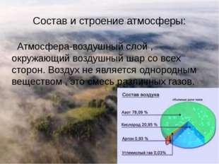 Состав и строение атмосферы: Атмосфера-воздушный слой , окружающий воздушный