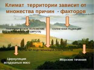 Климат территории зависит от множества причин - факторов ГЕОГРАФИЧЕСКОЕ ПОЛОЖ