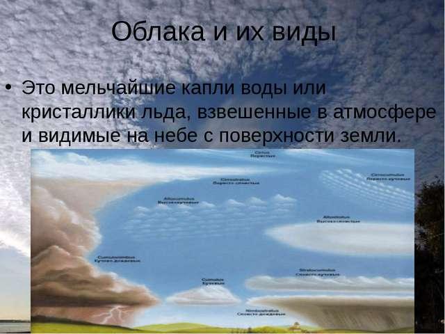 Облака и их виды Это мельчайшие капли воды или кристаллики льда, взвешенные в...