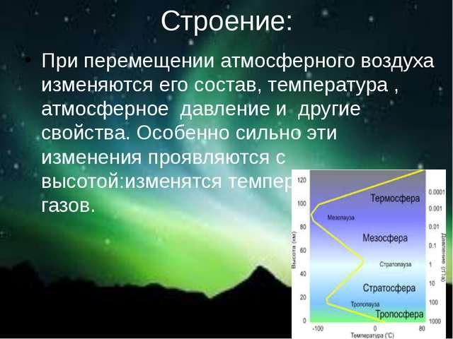 Строение: При перемещении атмосферного воздуха изменяются его состав, темпера...