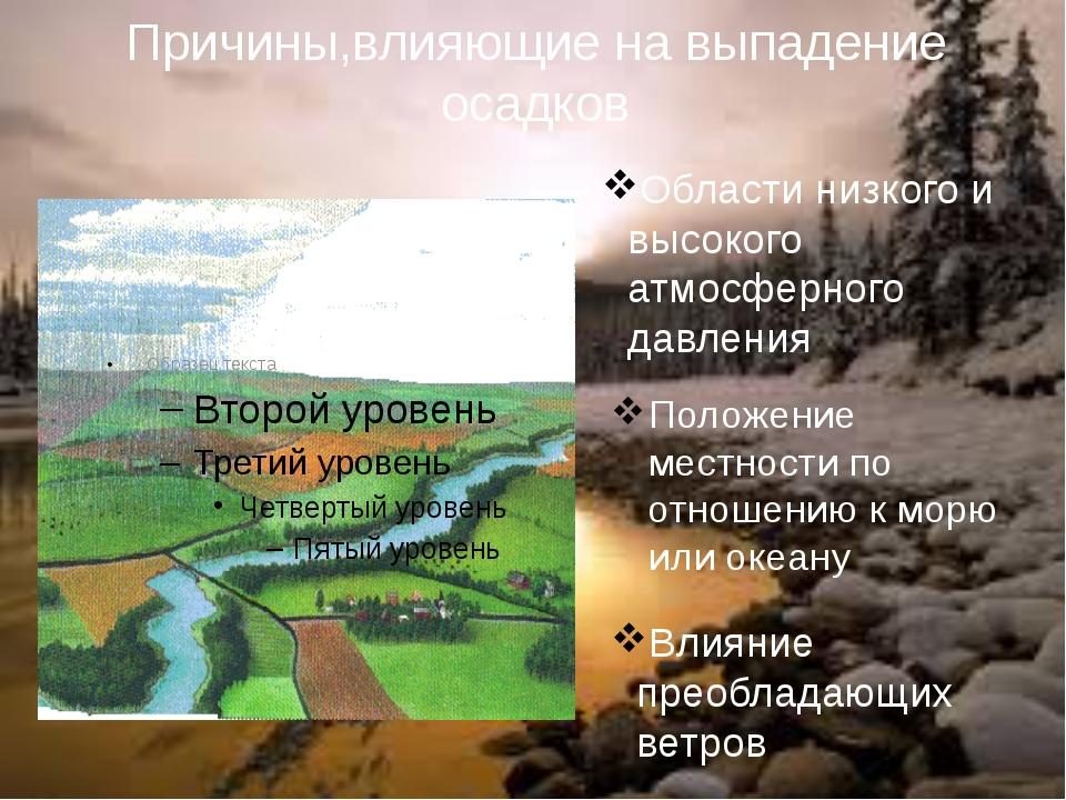 Положение местности по отношению к морю или океану Области низкого и высокого...