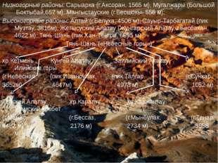 Низкогорные районы: Сарыарка (г.Аксоран, 1565 м), Мугалжары (Большой Боктыбай