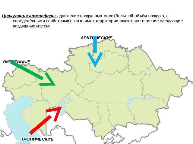 Циркуляция атмосферы - движение воздушных масс (большой объём воздуха, с опр...